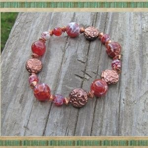 Jewelry - Orange Dragon Vein Agate & Copper Bracelet